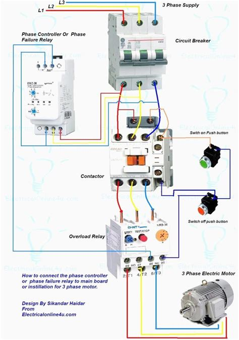 wiring diagram  motor starter  phase controller failure relay electrical pleasing