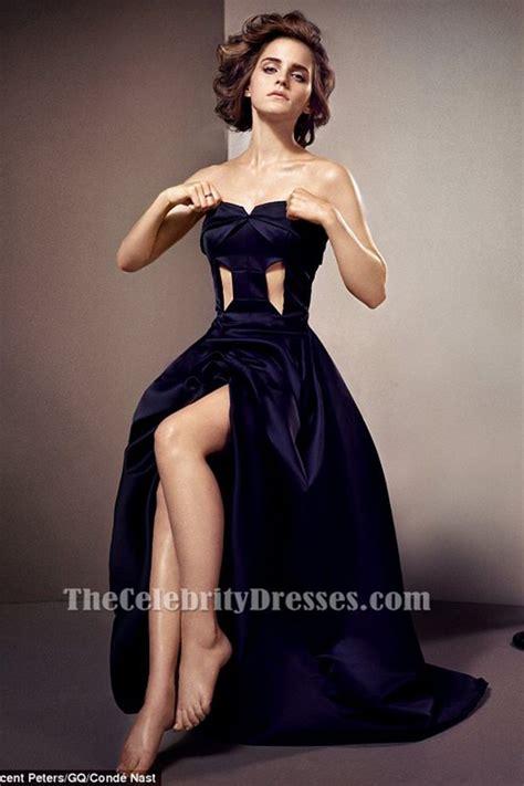 emma watson graduation dress emma watson dark navy cut out prom dress for gq magazine