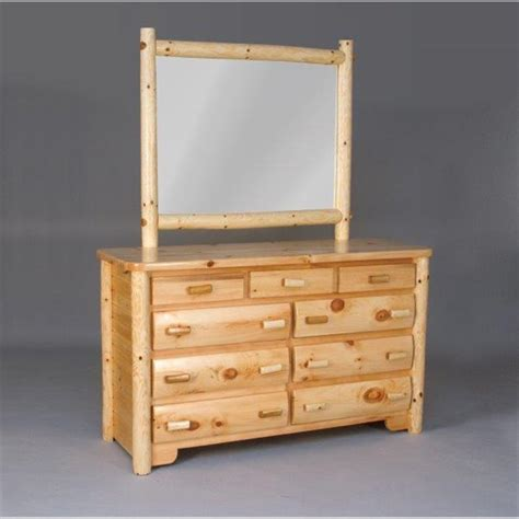Cedar Dresser by White Cedar Log Dresser With Mirror
