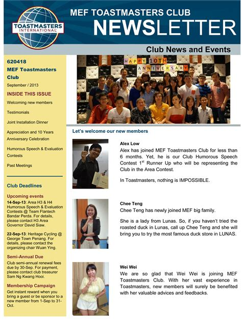 Mef S Very First Newsletter For This Term Mef Toastmasters Club Butterworth Toastmasters Newsletter Template