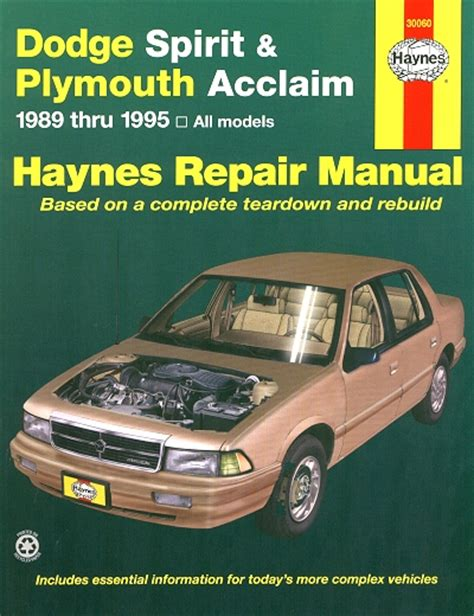 best car repair manuals 1995 plymouth acclaim seat position control dodge spirit plymouth acclaim repair manual 1989 1995 haynes