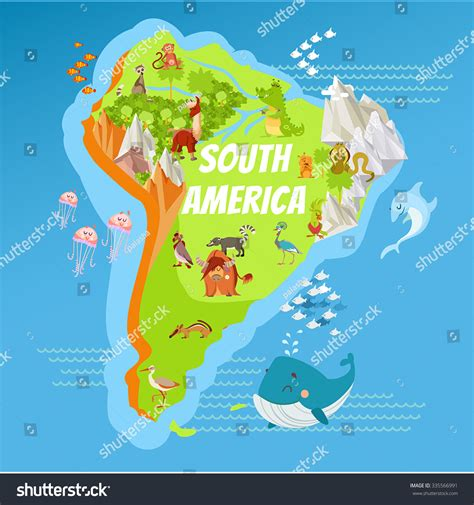 south america map rivers and mountains map south america continent riversmountains stock