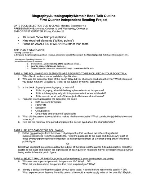 memoir outline template best photos of biography outline template personal
