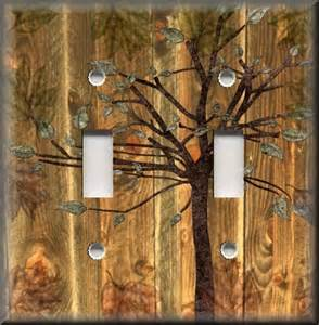 light switch plate cover rustic woods tree cabin home