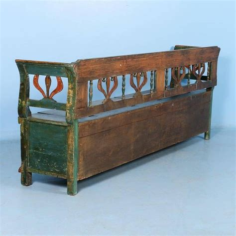 green storage bench antique original painted green storage bench circa