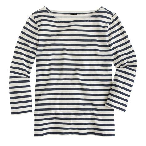 j crew striped boatneck t shirt in blue lyst - Striped Boatneck Tee
