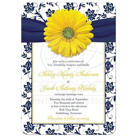 yellow navy floral wedding invitation navy blue yellow damask