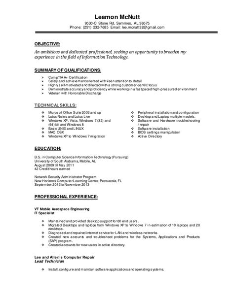 It Specialist Resume