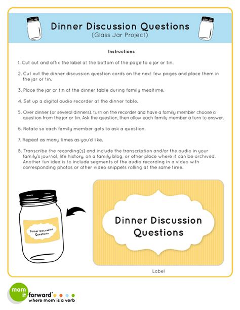 dinner conversation questions 8 best images of printable family discussion family