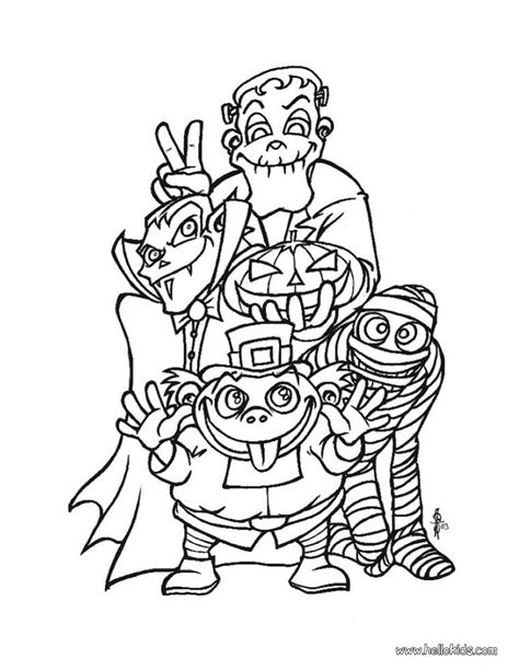 halloween coloring pages monsters spooky monsters coloring pages hellokids com