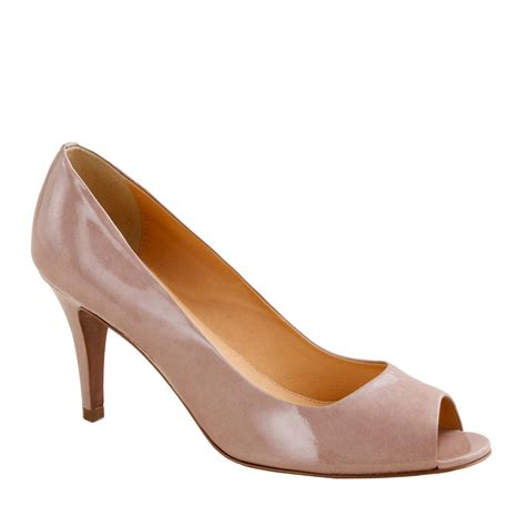 Shoes Of The Day Miss Beige Patent Peep Toe Pumps by Drea Patent Peep Toe Pumps J Crew