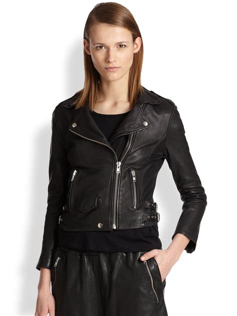 perforated leather motorcycle jacket oak perforated leather biker jacket in black lyst
