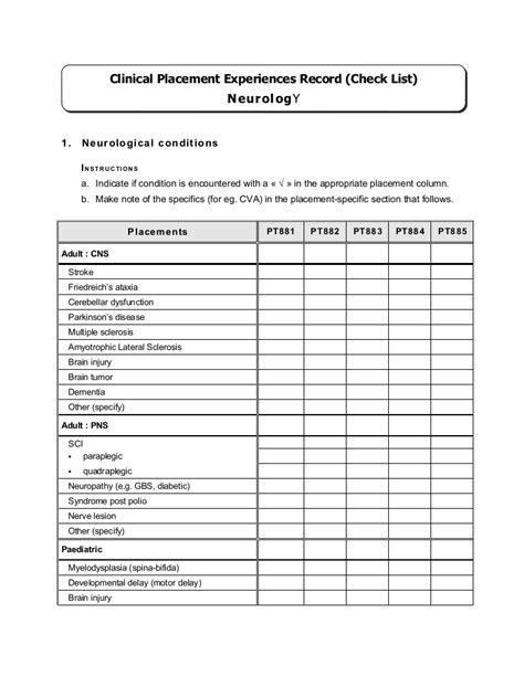 Competency Checklist Neurological Nursing Assessment Checklist Template