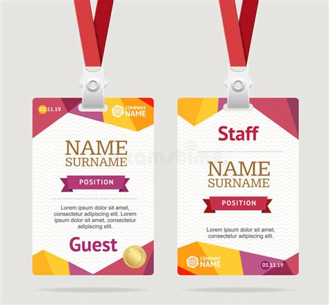 id name card design id card template plastic badge vector stock vector