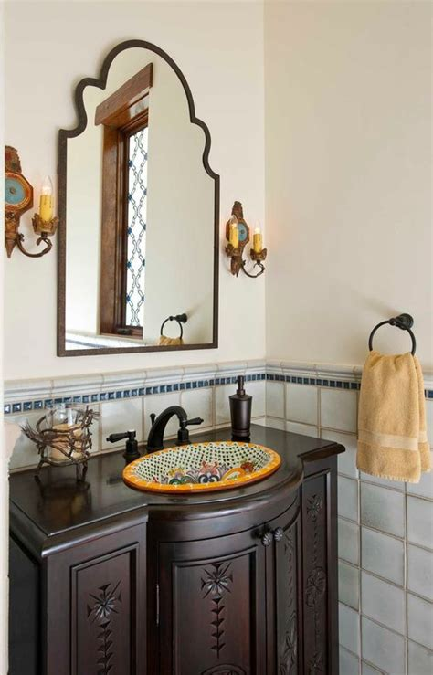 spanish tile bathroom ideas cool talavera tile vogue dallas mediterranean powder room