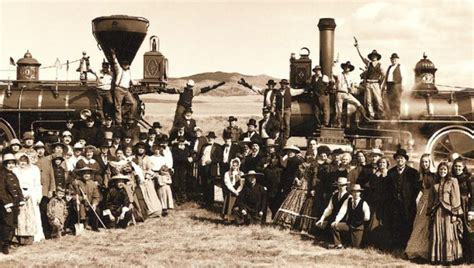 the sections of the transcontinental railroad join in a photo five promontory summit and the joining of the