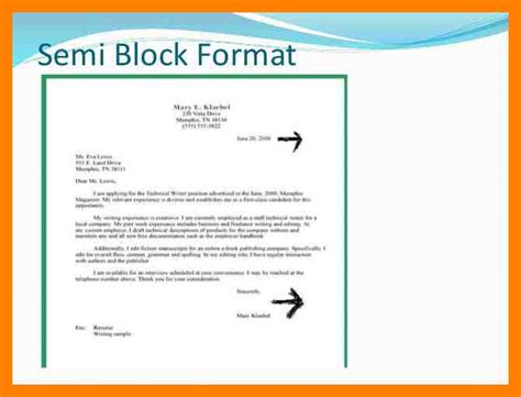 Application Letter Format Semi Block 3 Exle Of Semi Block Letter Emt Resume