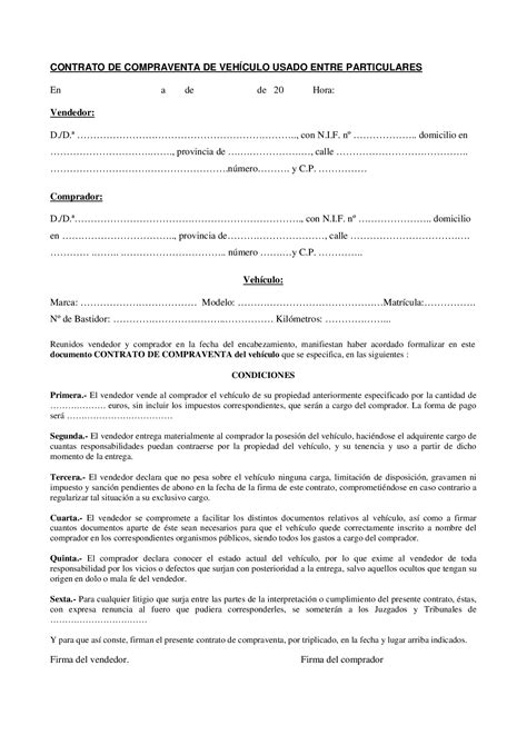 Modelo contrato compra venta - Docsity