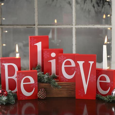 believe holiday decoration quot believe quot wood blocks table decor and winter crafts