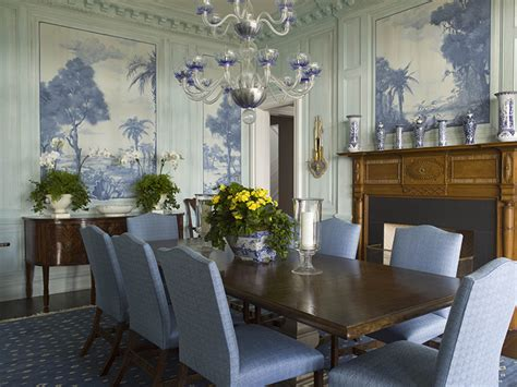 Blue Dining Room Walls by A Blue And White House By Phoebe And Jim Howard The Glam Pad