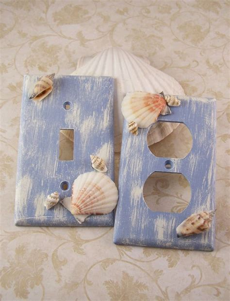 seashell bathroom decor ideas light switchplate covers blue home decor distressed sea