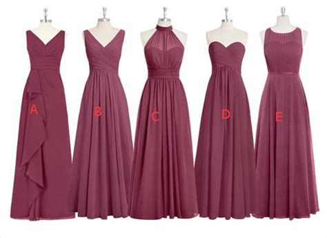 Mismatched Bridesmaid Dresses,Long Bridesmaid Gown,Mulberry Chiffon Bridesmaid Dresses,Off the