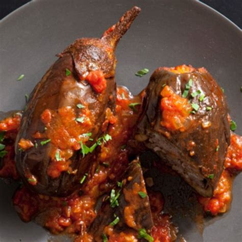 stuffed eggplant lebanese style stuffed eggplant recipe epicurious