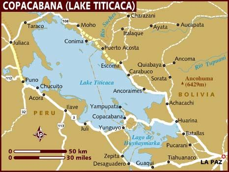 map of copacabana lake titicaca