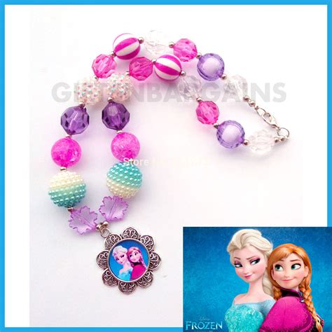 Chunky Bead Frozen Purple Combination With Pink frozen chunky beaded elsa pendant necklace pink