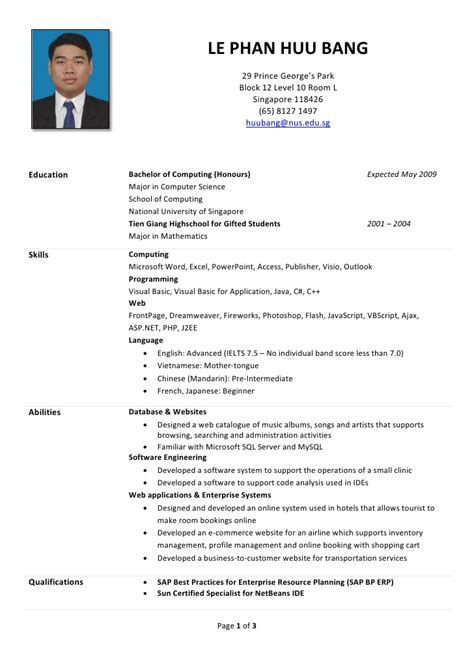 resume template singapore huu s r 233 sum 233