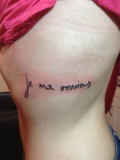 tattoo quebec qc my first tattoo it says je me souviens i remember