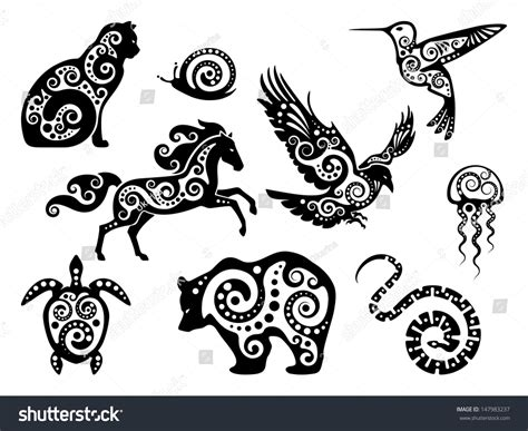 animal design silhouette set stock vector illustration