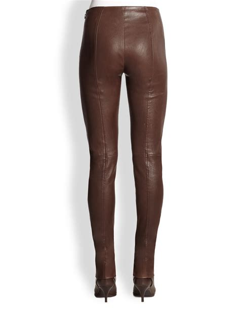 leather pants lyst ralph lauren black label jamie stretch leather
