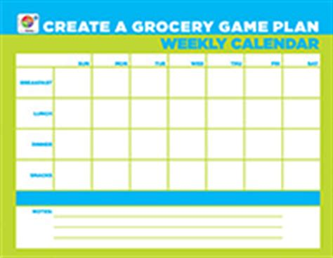 list  weekly meals choose myplate