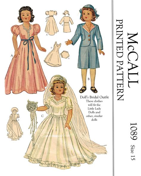 sewing pattern pdf vintage vintage mccalls 1089 15 quot doll clothes sewing patterns