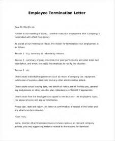 Employee Termination Letter Sle Doc Termination Letter Sle For Employer 28 Images 6 Letter Of Termination Of Employment Marital