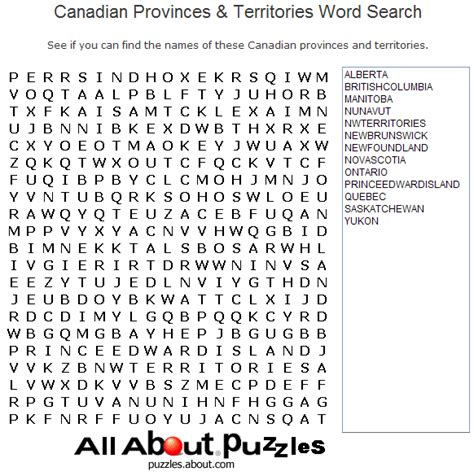 Free Search Canada Print Out These Word Search Puzzles Printable Word