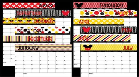 printable mickey mouse disney themed school calendar instant  mickey mouse