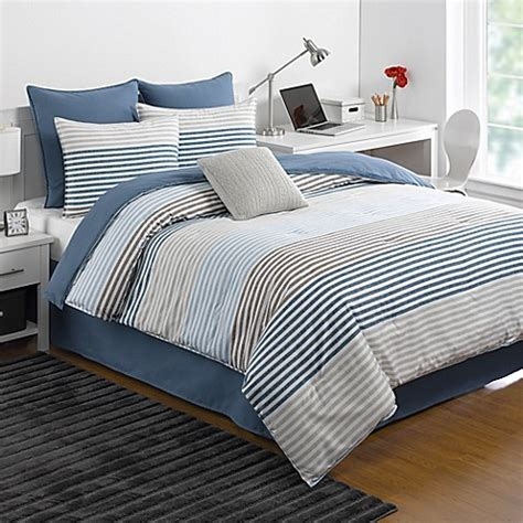 Bedong Blue Stripe izod 174 chambray stripe reversible comforter set in blue bed bath beyond