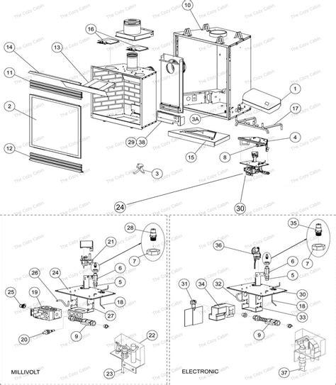 lennox fireplaces parts edv4035cne h0737 edv4035cnm h0736 edv4035cnm b