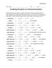 Worksheet Chemical Reactions Teacher Teacher Notes