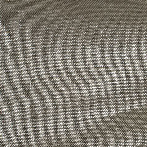 Landscape Fabric Shiny Side Up Metallic Silver Coated Taupe Linen Fabric Contemporary