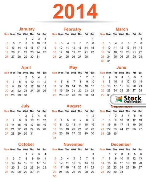 2014 calendar template vector free download printable