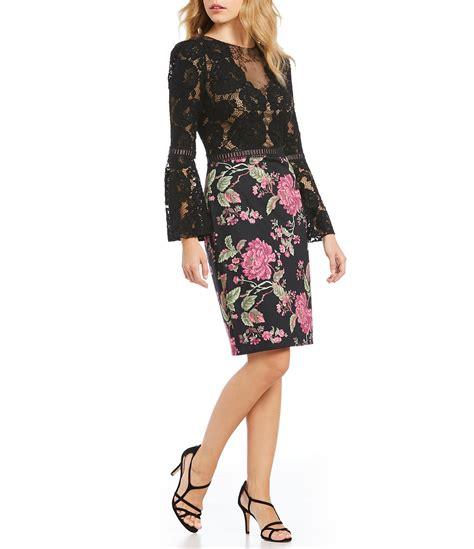 Sleeve Floral Sheath Dress tadashi shoji lace bell sleeve floral sheath dress dillards
