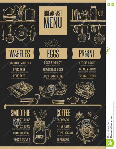 Menu Breakfast Restaurant Food Template Placemat Stock Vector Image 80548928 Placemat Menu Templates