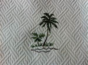 bahama heavy cotton fabric palm trees embroidered