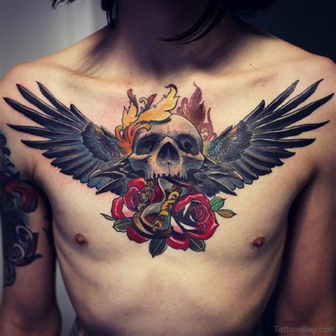 rose tattoo with wings 81 alluring wings on chest
