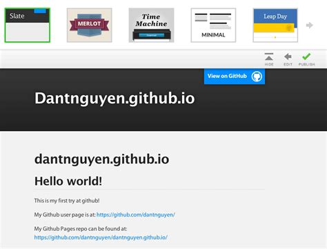github pages templates pre fab pages with github s automatic page generator