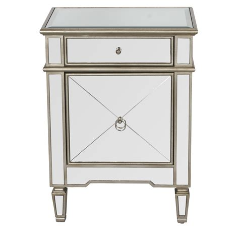 mirrored bedside table with one drawer claudette mirrored nightstand with painted silver edge