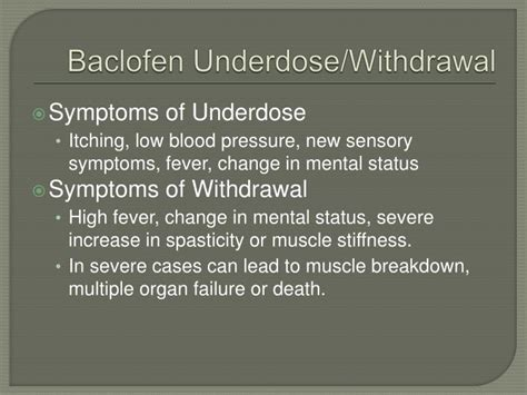 Detox Symptoms High Blood Pressure by Ppt Intrathecal Baclofen Powerpoint Presentation